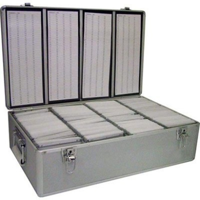 Neo Aluminium CD or DVD Storage Box with sleeves holds upto 800 discs