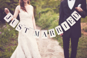 Rectangle Just Married Wedding Bunting Banner Photo Booth Garland Props Bridal Shower Party Decoration Favour
