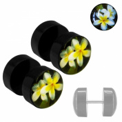 Soul Cats® 1 pair of sweet Fakeplugs Fake Plug Plugs Studs fake flower