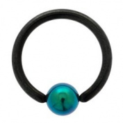 Blackline Ball Closure Ring with Green Titanium ball 1.2mm x 10mm