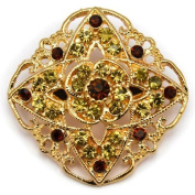 Elixir77UK Gold Colour Flower Decoration Fashion Gift Pin Brooch with Crystals UK SELLER