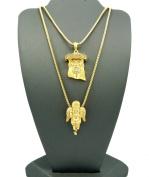 Gold Tone 2 Piece Jesus Angel Micro Pendant Necklace Set w/ Box Chain RC186G
