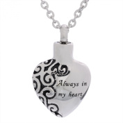VALYRIA Cremation Jewellery Stainless Steel Always in my Heart Urn Pendant Necklace Memorial Ash Keepsake