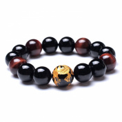 Merdia Father Day's Gift Men Natural Tiger Eye Agate Chatoyancy Bracelet with Big Dragon Pattern Bead