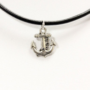 TrendsMe Real Black Leather Cord Choker Necklace with Vintage Tibetan Silver Charm Pendant[Anchor]