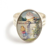 Alice in Wonderland adjustable silver ring - Alice meets Humpty Dumpty charm jewellery