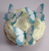 24 x Pre Cut Butterfly Butterflies Blue Fairy Muffin Cup Wedding Cake Toppers Decoration Edible Rice Wafer Paper