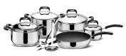 Lagostina Paolo Rossi Lively Akku Stainless-Steel Saucepan Set 13-Piece 18/10 Triple Bottom Steel and Aluminium