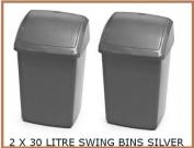 SWING BIN / 2 X SMALL 30L 30 LITRE SILVER PLASTIC SWING TOP RUBBISH BIN WASTE PAPER BIN NEW