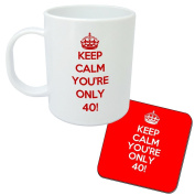 Keep Calm You're Only 40 mug and Coaster set - birthday gift idea. Perfect present for him, her, son or daughter