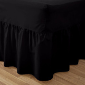 Love2Sleep EGYPTIAN COTTON HOTEL QUALITY VALANCE SHEET BLACK - SINGLE BED SIZE