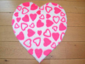 Pink Hearts Heart Shaped Non Slip Machine Washable Sheepskin Style Kids Rug. Size 70cm x 70cm