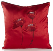 Poppies Red & Black Piped Faux Silk 46cm Cushion Cover