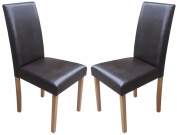 Set of 2 Brown Faux Leather Torino Dining Chairs Brown With Padded Seat & Oak Finish Legs