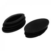 2 Pcs Plastic Oval Blanking End Caps Tubing Tube Inserts 18mm x 38mm