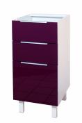 Berlenus CT4BA Kitchen Base Unit 40 cm 3 Drawer High-Gloss Aubergine