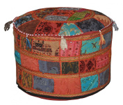 Indian Vintage Ottoman Embellished With Embroidery & Patchwork Foot Stool Floor Cushion, 58 X 33 Cm