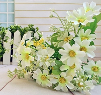 White Colour Silk flowers Artificial Silk Daisy Flower Bunch Home Garden Party Floral Decor