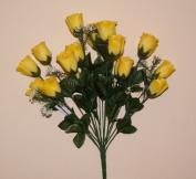18 head YELLOW rose buds artificial flower bush weddings/graves