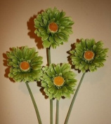 4x soft lime green gerbera stems artificial flowers for home or weddings