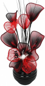 Flourish 32 cm Vase with Mesh Mini Flower TW, 813 Black/ Red