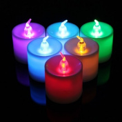 Water & Wood Change Changing Flash LED Flickering Flicker Flameless Tea Light Candle Battery Operated Control Home Decoration 7 Colours Changing Quckly
