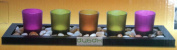 5 Piece Jewel Tone Tealight Candle Set With Rocks & wooden Tray