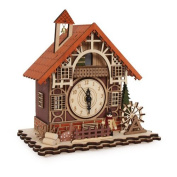 Timber framed Swiss Style House Clock incorporating music box (can cuckoo every hour!) with Led nigh