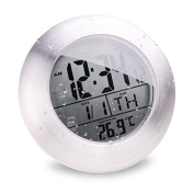BOOMYOURS Suction Cup Waterproof Kitchen Bathroom Digital Clock with Digital Thermometer