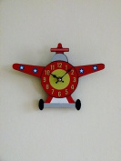 Childrens boys girls planes wall clock duo clock aeroplane shaped bedroom wall mounted clock or desk clock 60cm red black great gift ideas