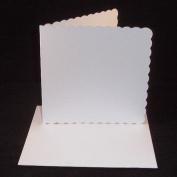 25cm x 15cm x 15cm White Scalloped Card Blanks With White Envelopes