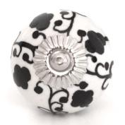 Knobbles and Bobbles Ltd White/Black Floral Knob