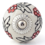 Knobbles and Bobbles Ltd White/Black Knob With Red Flowers