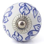 Knobbles and Bobbles Ltd White/Delicate Blue Flower Knob
