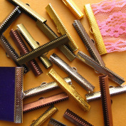 40mm or 1 9/16 inch Ribbon Clamp Crimps with Loop -- Mixed Finish