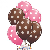Balloons 28cm Premium Latex Assorted Pale Pink with White Polka Dots and Brown with White Polka Dots Pkg/50