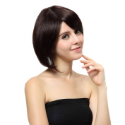 Bigood 32cm Bob Haircut Inclined bang human hair short straight hair dark brown