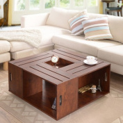 Square Crate Walnut Coffee Table with Open Shelf Storage and Flip Box Centre Tray Insert with a Vintage Flair. Add This Artisan Inspired Accent Piece to Your Living Room Decor. This Wood Cocktail Table Is Sure to Get Noticed with Its Classic Appeal.