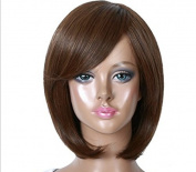 Simpleyourstyle SYNTHETIC Short Bob Natural Black Brown Head Women Wig for Mothers' Day Daily Wear Party Hair Wigs dark Brown Wig