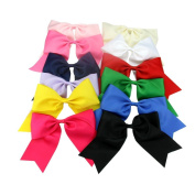 Janecrafts 12pc 18cm Boutique Splayed Hair Bows Girls Lady Alligator Clip Grosgrain Ribbon Cheerleading Cheer Bows for Sports Girl