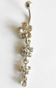 PAVED FLOWER GEMS PETAL BELLY NAVEL RING DROP DANGLE BUTTON PIERCING jewellery CLEAR