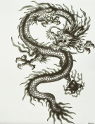 GGSELL GGSELL hot selling extra large new design big size 20cm x 22cm waterproof black dragon temporary tattoo sticker for men""