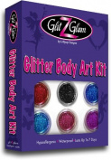 Glitter Tattoo Kit with 6 Large Glitters & 12 Stencils for boys & Girls. Children Tattoos by GlitZGlam Body Art