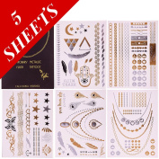Premium Temporary Metallic Flash Jewellery Tattoos By Kiki - 5 Sheets- 100% Risk Free Guarantee - Best Gold and Silver Jewellery Rings, Armbands, Necklaces and Designs