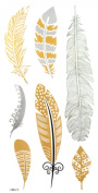 GGSELL GGSELL Flash Temporary Tattoos Golden Gold and Glitter feather design fashion fake tattoo stickers