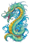 Fantasy Dragon Temporary Tattoos, 10 sheets, 10 Colourful Dragons