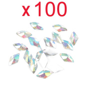So Beauty 100pcs Colourful Rhombus Flat Back Rhinestones Flatback acrylic Gems for Nail Art
