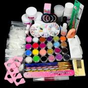 Excellent Gift!! Full Nail Art Set Acrylic Glitter Powder Primer TIP Brush Glue Dust KITS #13