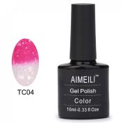 AIMEILI Shellac Soak Off UV LED Temperature Colour Changing Chameleon Gel Nail Polish - Hot Pink to Glitter White (004) 10ml