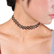 Sealike Black Vintage Stretchy Henna Tattoo Choker Collar Necklace Chain Elastic 80s 90s for Trendy Girls with a Stylus